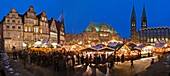 Panoramic view over the christmas market at dusk in Bremen, Germany, Europe
