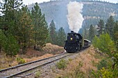 Steam train of the Kettle Valley Steam Railway, Summerland, British Columbia, Canada