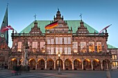 The mediaeval town hall in Bremen at dusk, Germany, Europe