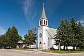 The Holy Cross Roman Catholic Church in Fort McLeod, Alberta, Canada
