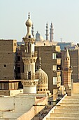 Mosque of Mahmoud al-Kurdi, Tentmaker´s Bazaar (al-Khiyamiya), built by Mahmoud al-Kurdi in 1395. He was the butler of the Mamluke Sultan Barquq, Taken from Minaret of Bab Zuweila Gate, Cairo, Egypt