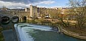 Pulteney Bridge and the weir over river Avon by Robert Adam, Bath, Somerset, England, UK