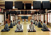 BUDDHIST MONKS IN MEDITATION, HAEIN SA TEMPLE, KOREA