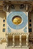 India, Rajasthan, Udaipur, City Palace, Solar disk representing the Maharana´s royal emblem and the solar Rajput dynasty Suryavansham of Udaipur, the highest ranking among all the Rajasthani rulers