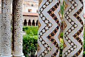 The marble and mosaic columns of the cloister found in the Duomo di Monreale Sicily Italy