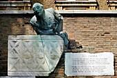 The statue of Trilussa Piazza Trilussa, trastevere Rome Italy