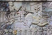 Southeast Asia, Cambodia, Siem Reap Province, Angkor, Unesco World heritage since 1992, Bayon temple, XIII th century, relief sculpture