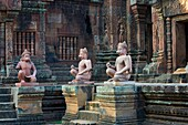 Southeast Asia, Cambodia, Siem Reap Province, Angkor site, Unesco world heritage of UNESCO since 1992, Banteay Srei temple, decorated with relief sculpture