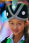 Laos, Province of Luang Prabang, city of Luang Prabang, World heritage of UNESCO since 1995, Lao New year festival, Hmong ethnic groupe, young woman in traditionnal dress