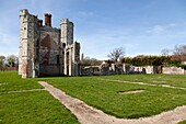 Titchfield Abbey ruin near Fareham in hampshire and part of the layout of the old foundations