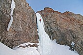 Mark Weber ice climbing a route which is rated WI4 near Silver Creek high in the Boulder Mountains in central Idaho