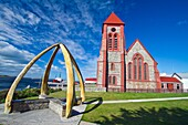 Views of the Anglican Christ Church Cathedral the southernmost cathedral in the world in Stanley, the capital and only true city in the Falkland Islands, South Atlantic Ocean  MORE INFO Stanley is located on the isle of East Falkland, on a north-facing sl