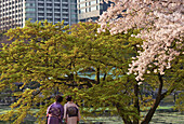 Two women in traditional kimono enjoy the fresh Spring foliage and cherry blossoms inside Hama-Rikyu Gardens, located in central Tokyo, Japan.