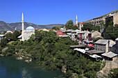 Bosnia and Herzegovina, Mostar, skyline, general view, Neretva River