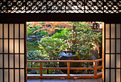 A detailed view looks out through washi-paper shoji doors beneath a decorative transom to the stone tsukubai water basin by the garden at Daiho-in, a sub-temple inside Myoshinji Temple complex, located in Kyoto, Japan.