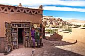 Morocco-South Morocco-Atlas Mountains, Ait Ben Haddou-Kasbah-(W.H.)-Souvenirs Shop