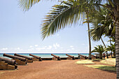 General view, old guns and plams trees on waterfront of the Barachois, St Denis, Réunion Island, Indian Ocean
