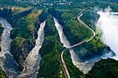 Africa, Zimbabwe, North Matabeleland province, Victoria Falls National Park, the waterfalls reach 128 meters high