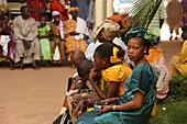 African families waiting in a hospital in Bamako. Bamako. Mali. (Bamako, Mali)