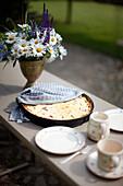 Fresh rhubarb tart on a coffee table, Klein Thurow, Roggendorf, Mecklenburg-Western Pomerania, Germany