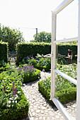 View inside a flower garden, Klein Thurow, Roggendorf, Mecklenburg-Western Pomerania, Germany