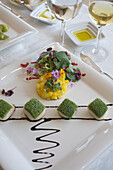 Dood served at decorated table at the restaurant of a five star Hotel, Quinta do Lago, Algarve, Portugal, Europe