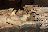 Alabaster tomb of Carlos III and Leonor de Trastamara inside of the cathedral, Andre Maria Erreginaren Katedrala, Pamplona, Camino Frances, Way of St. James, Camino de Santiago, pilgrims way, UNESCO World Heritage, European Cultural Route, province of Nav