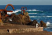 Sculptures of Eduardo Chillida on the waterfront, Peine del viento, Paseo del Peine del Viento, San Sebastian, Donostia, Camino de la Costa, Camino del Norte, coastal route, Way of St. James, Camino de Santiago, pilgrims way, province of Guipuzcoa, Basque