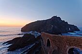 San Juan de Gaztelugatxe, seaman's chapel on a rock island at sunset, Cape of Matxitxako, near Bermeo, province of Guipuzcoa, Basque Country, Euskadi, Northern Spain, Spain, Europe