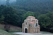 San Miguel de Lillo, chapel of the summer residence of King Ramiro I, 9th century, Preromanesque, UNESCO World Heritage Site, Monte Naranco, mount, near Oviedo, Camino Primitivo, Camino de Santiago, Way of St. James, pilgrims way, province of Asturias, Pr