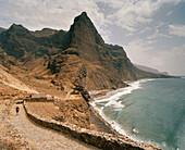 Abandoned village Cha de Mar at the coast, Praia Ribeira Seca, coastal way to Cha d'Igreja, Santo Antao, Ilhas de Barlavento, Republic of Cape Verde, Africa