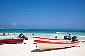 Fishing boats on the beach, Playa del Carmen, Riviera Maya, Quintana Roo, Mexico