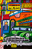 Detail of colorful painting featuring a vintage American car and La Bodeguita del Medio bar, Havana, Havana, Cuba, Caribbean