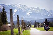 Motorbike tours around Garmisch near Kruen, Upper Bavaria, Bavaria, Germany