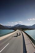 Motorbike tours around Garmisch, Bridge over Sylvenstein Reservoir, Upper Bavaria, Bavaria, Germany