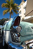 TAIL FIN OF CLASSIC 1950S TWO TONE BUICK CONVERTIBLE AVALON HOTEL OCEAN DRIVE SOUTH BEACH MIAMI BEACH FLORIDA USA