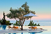 oceania club showing infinity swimming pool at sunset halkidiki macedonia central greece europe