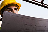Construction worker holding drawings. Construction worker holding drawings