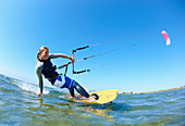 Female kitesurfer. Female kitesurfer
