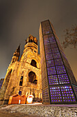 Kaiser Wilhelm Memorial Church. The Kaiser Wilhelm Memorial Church, or Kaiser_Wilhelm_Gedv§chtniskirche, in Berlin was damaged heavily in the Second World War and the damaged spire remains with a modern church built on the same site