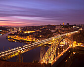 Dom Luis Bridge lit up at night. Porto, Portugal. Dom Luis Bridge. Portuguese: Ponte Dom Luís. Douro river