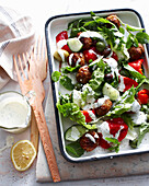Tray of Greek lamb salad. GreekLambMeatballSalad