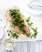 Salmon with herbs and tartar sauce. SalmonForSummer