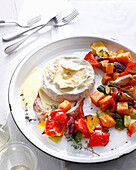 Plate of grilled vegetables and cheese. VegetableFondue