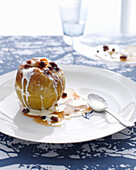 Plate of baked apple with cream. BakedApples