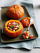Roasted pumpkin stuffed with beans