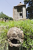 Sculptures in the compound of St  Mary of Zion, Aksum, which date possibly back to old pre-christian aksumite kongdoms  Aksum is the most important religious center of the ethiopian orthodox church  the Ark of the covenant, which is the holy of holy of th