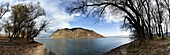 Panorama of the bend of river Danube near Doemoes  The valley of the Danube is cutting through the hills of the western carpathian mountains in the north and the Pilis mountains in the south forming a bend of about 180 degrees  Europe, East Europe, Hungar