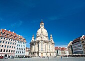Exterior of famous Frauenkirche Church Of Our Lady church in Dresden Saxony Germany