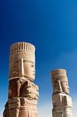 Mexico, Hidalgo, Tula de Allende, Archaeological Zone of Tula the probable capital of the Toltec civilization, Temple of Quetzalcoatl, Atlantes warrior statues